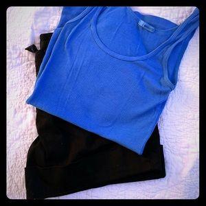 Black Mossimo shorts & blue ribbed tank top